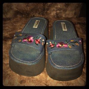 90s Vintage Denim Steve Madden Platform Sandals